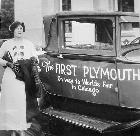 Ethel with her #1 Plymouth.